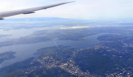 Seattle from the air. Under the wing of Seattle Royalty Free Stock Images