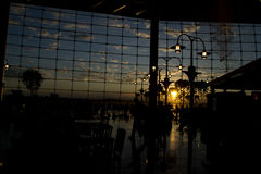 Seattle Airport sunset. Sunset through windows with reflections Royalty Free Stock Image