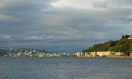 Seattle and Alki Beach. View of Seattle and Alki beach waterfront Stock Photo