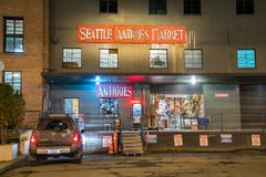 Seattle antyków rynku sklepu wejście Zdjęcia Royalty Free
