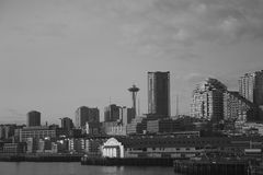 Seattle Aquarium and Space Needle. A view from the ferry: the Seattle Aquarium and the Space Needle stock images