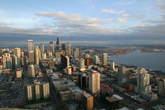 Seattle au coucher du soleil Photo stock