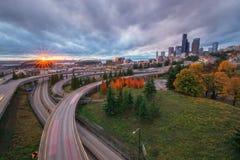 Seattle autostrada od Rizal mosta i linia horyzontu Fotografia Stock