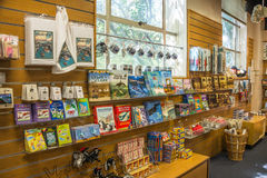 Seattle Ballard Locks Tourist Gift Shop Souvenirs. SEATTLE, WA - APR 27, 2014: Tourist gift shop and visitor center with books, children's toys, and other stock images