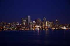 Seattle bij nacht Royalty-vrije Stock Foto's