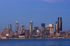 Seattle bij schemering Royalty-vrije Stock Afbeeldingen