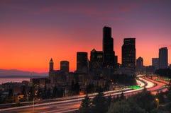 Seattle bij zonsondergang Stock Afbeelding