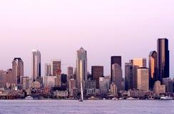 Seattle bij zonsondergang Royalty-vrije Stock Afbeeldingen