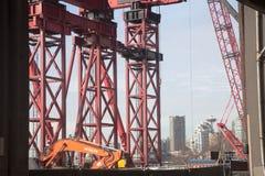 Seattle bord de mer construction en février 2015, près du Roi Street Image stock