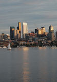 Seattle buildings reflected in Lake Union at sunset Stock Photo