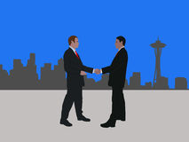 Seattle business meeting. Business men meeting with handshake and Seattle skyline Stock Photography