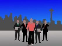 Seattle business team. Business team and Seattle Skyline illustration Royalty Free Stock Photos