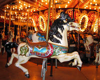 Seattle Center Carousel. In November at night stock images