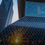 Seattle Central Library. View of the award-winning geometric glass and steel design of the Seattle Central Library from 5th Avenue at sunset Royalty Free Stock Photo