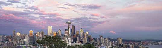 Seattle City Downtown Skyline at Sunset Panorama Royalty Free Stock Images
