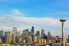 Seattle city landmarks and Mt. Rainier at sunset. Royalty Free Stock Photo