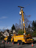 Seattle City Light workmen replace an aging utility pole Stock Photos