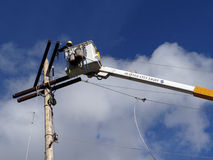 Seattle City Light workmen replace an aging utility pole Royalty Free Stock Photography