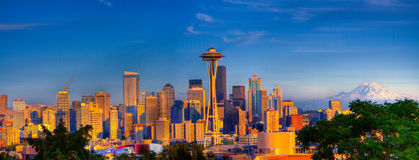 Seattle City panorama. Seattle panorama taken from Kerry Park just before sunset Royalty Free Stock Images