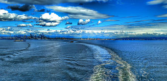 Seattle city skyline across puget sound and eliott bay stock photo