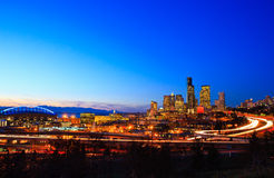 Seattle city skyline at dusk Stock Photos