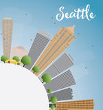 Seattle City Skyline with Grey Buildings, Blue Sky and copy spac Stock Photography