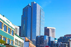 Seattle city skyline near Pike Public Market. Royalty Free Stock Photography
