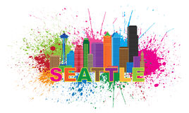 Seattle City Skyline Paint Splatter Vector Illustration. Seattle Washington Downtown City Skyline Color Text Paint Splatter Abstract Isolated on White Background Stock Photography