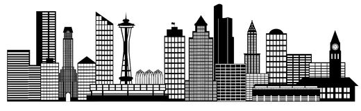 Seattle City Skyline Panorama Clip Art Stock Photos
