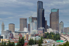 Seattle City Skyline at Rush Hour Stock Images