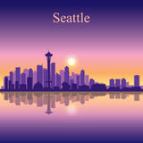 Seattle city skyline silhouette background Stock Photos