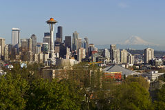 Seattle City Skyline in Spring Time. Seattle city skyline taken from Kerry park in Spring time with blue sky and mount rainier in background Stock Photo