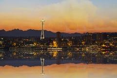 Seattle City Skyline at Sunrise stock images
