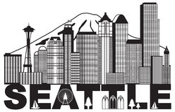 Seattle City Skyline and Text Black and White vector Illustration. Seattle Washington Downtown City Skyline and Text in Black Isolated on White Background vector Stock Photos
