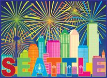 Seattle City Skyline Text Fireworks Color vector Illustration. Seattle Washington Outline Silhouette with City Skyline Sun Rays Colorful Fireworks display vector illustration
