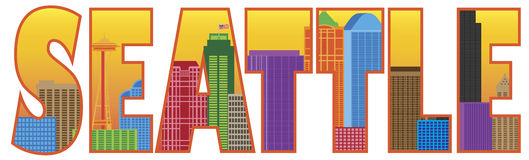 Seattle City Skyline Text Outline Color Vector Ill Royalty Free Stock Photos