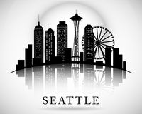 Seattle city skyline. Vector city silhouette Royalty Free Stock Images