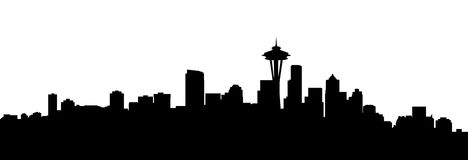 Seattle city skyline. Very big size seattle city skyline silhouette royalty free stock images