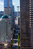 Seattle city skyscrapers with reflections on a sunny day. Stock Image