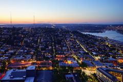 Seattle city sun set Royalty Free Stock Image