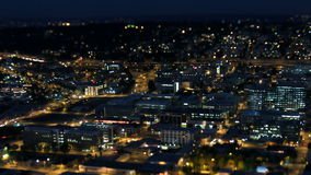 Seattle City Traffic Time Lapse Night Pan Tilt Shift stock video