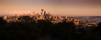Seattle cityscape during colorful sunset Royalty Free Stock Images