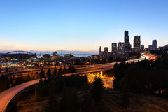 Seattle Cityscape at Dust, Washington Royalty Free Stock Images