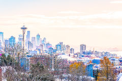 Seattle cityscape in the morning light in the winter, shoot from Kerry Park viewpoint, Washington,USA Royalty Free Stock Photos