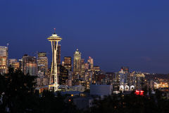 Seattle Cityscape with Mt. Rainier in the Background, Washington Royalty Free Stock Photos