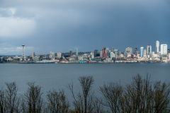 Seattle Cityscape With Rain Clouds Royalty Free Stock Images