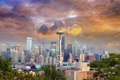 Seattle Cityscape with Stormy Sky Royalty Free Stock Photography
