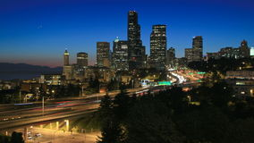 Seattle Cityscape Time Lapse Dusk stock video footage