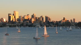 Seattle Cityscape Time Lapse Sunset Zoom stock footage