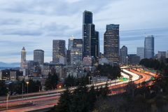 Seattle cityscape with traffic motion blur at dusk stock photos